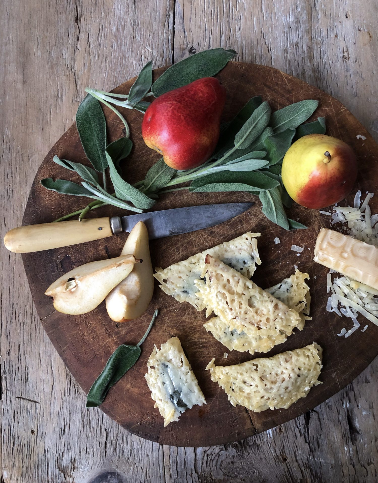 Forelle Pear and Sage Frico, Cheese Crisps