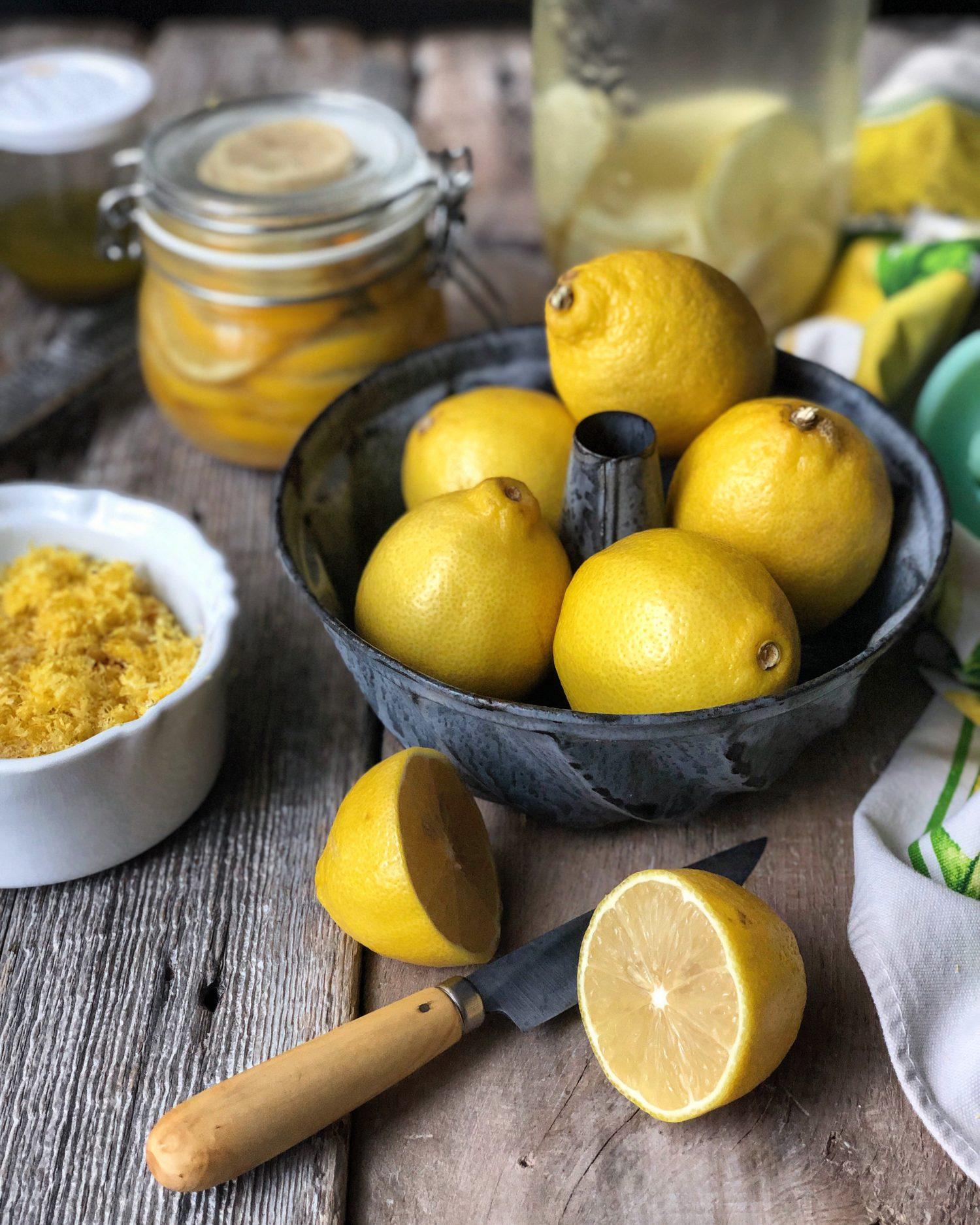 lemons, lemon zest, preserved lemons, vintage cookware