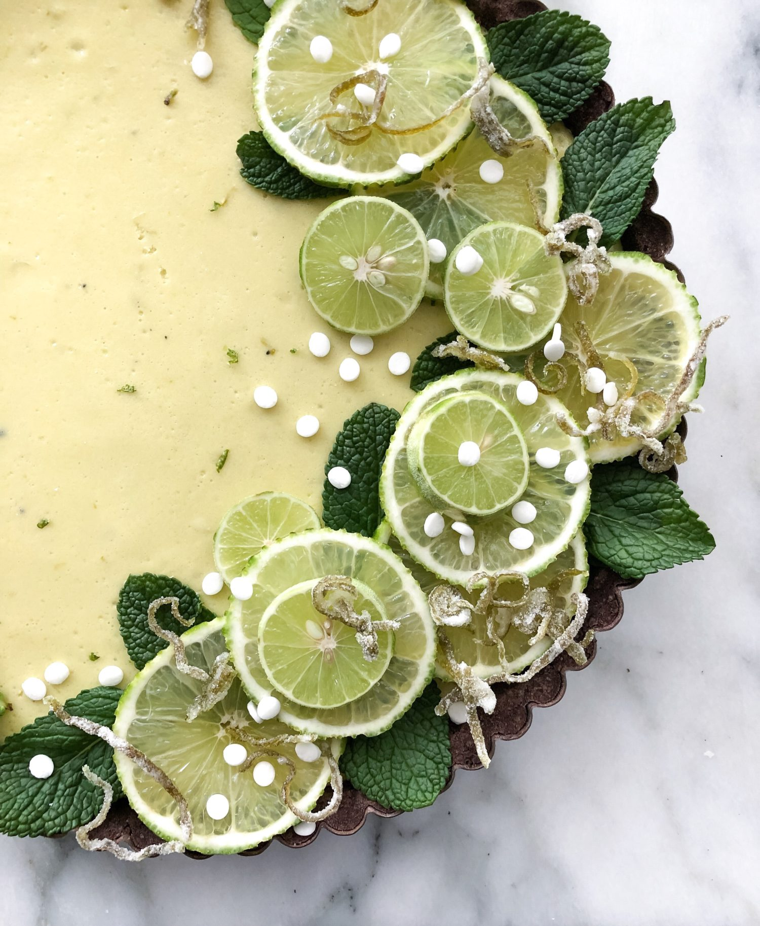 Key Lime Tart with Chocolate Almond Crust