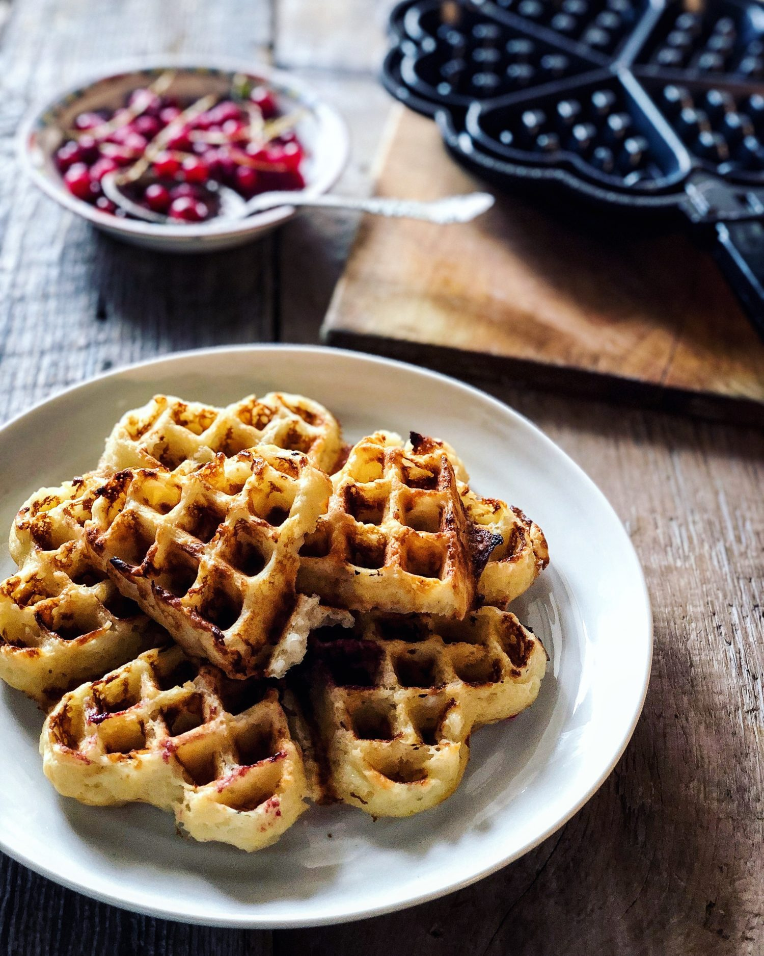 Scandinavian crisp waffles, whipped cream waffles, heart shaped waffles, Swedish