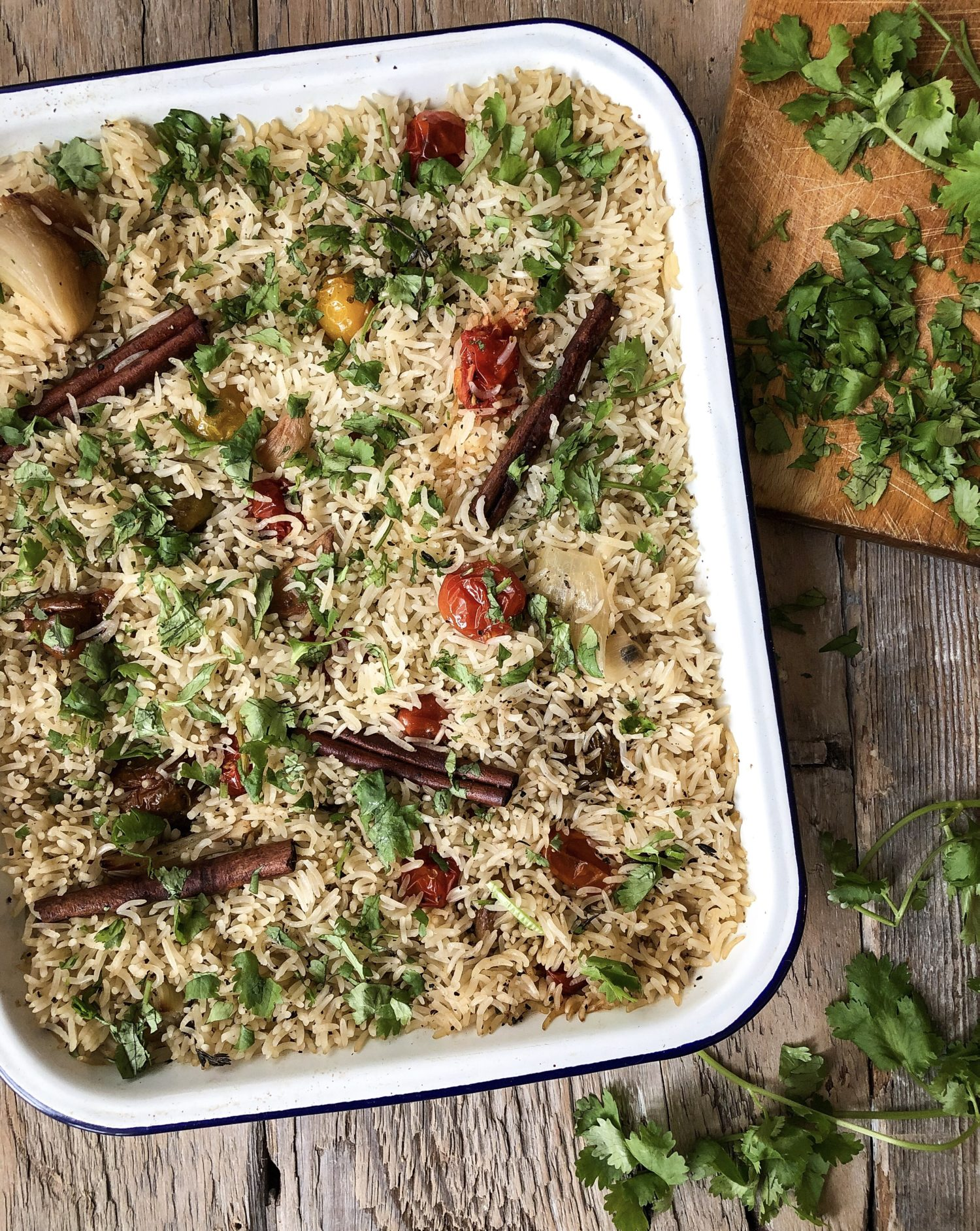 Baked Rice with Tomato and garlic confit