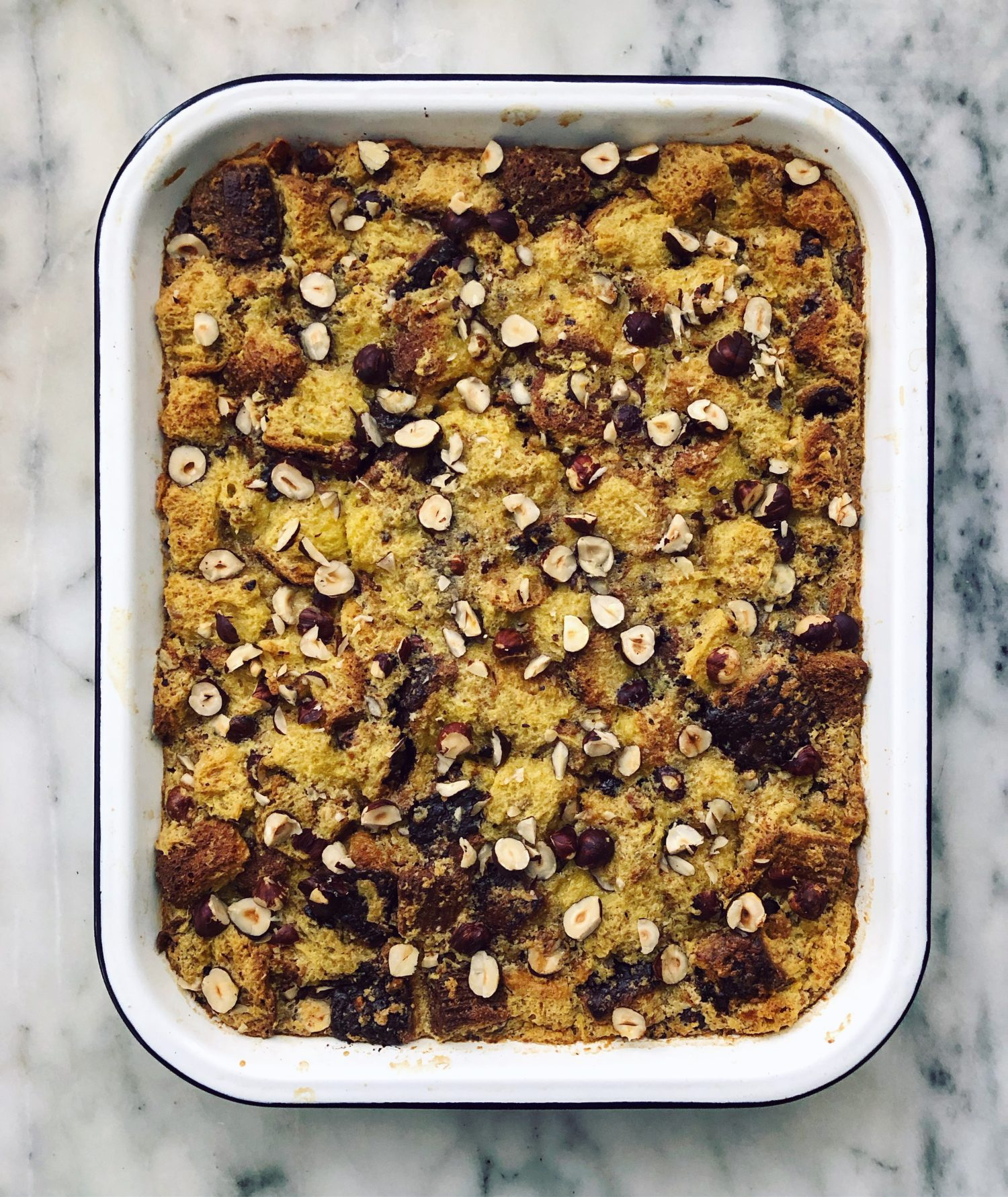 Bread Pudding with Chocolate Chunks and Hazelnuts