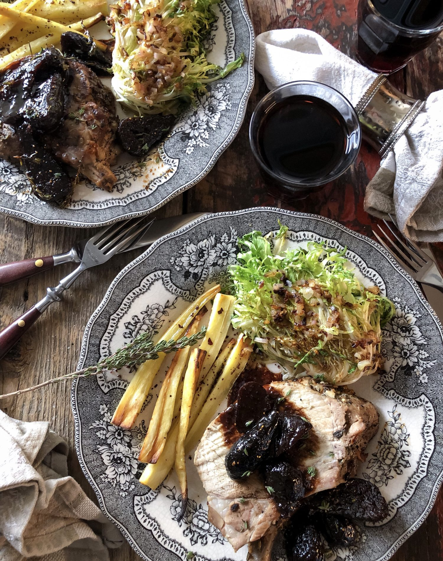 Pork Loin Roast with Figs in Vermouth Sauce