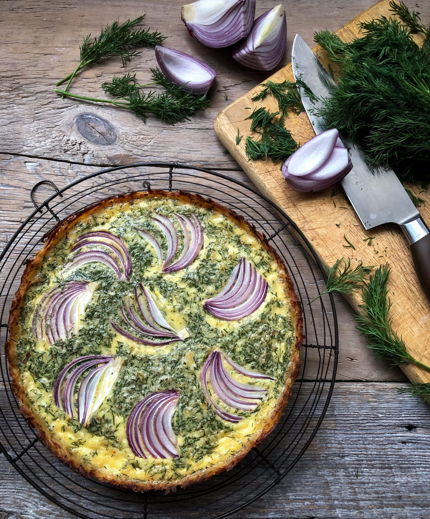 Goat Cheese and Dill Quiche in a hash brown crust