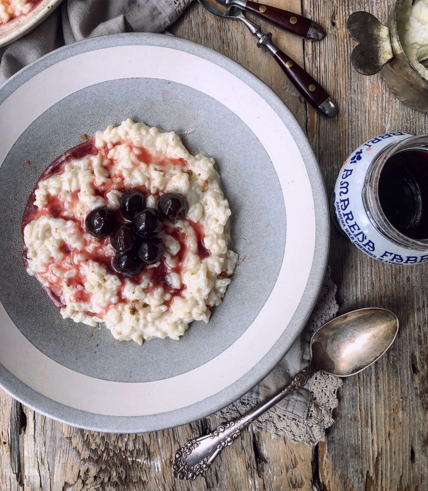 Swedish Rice Pudding with Sour Cherries in Syrup