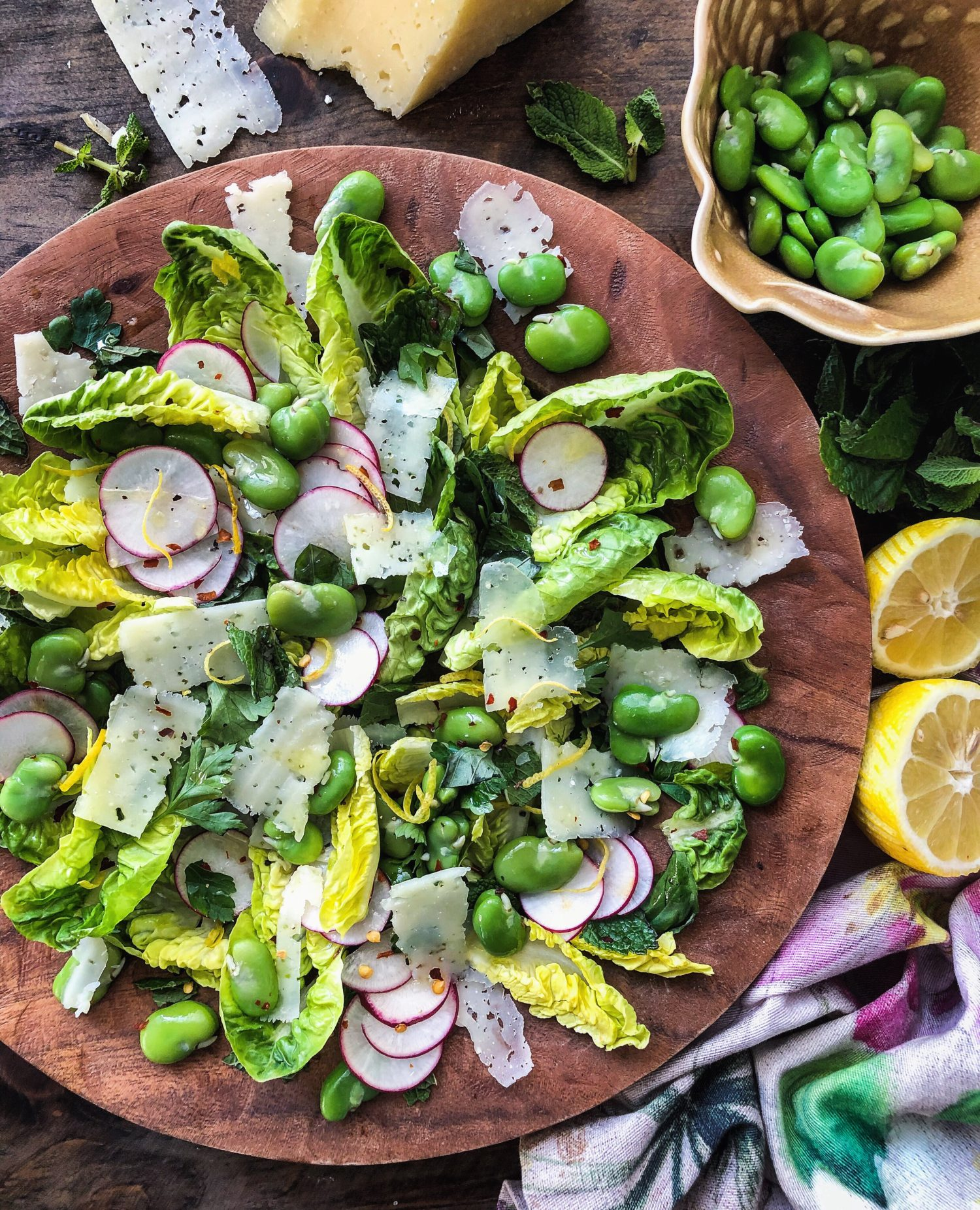Fava Bean, Mint and Manchego Salad