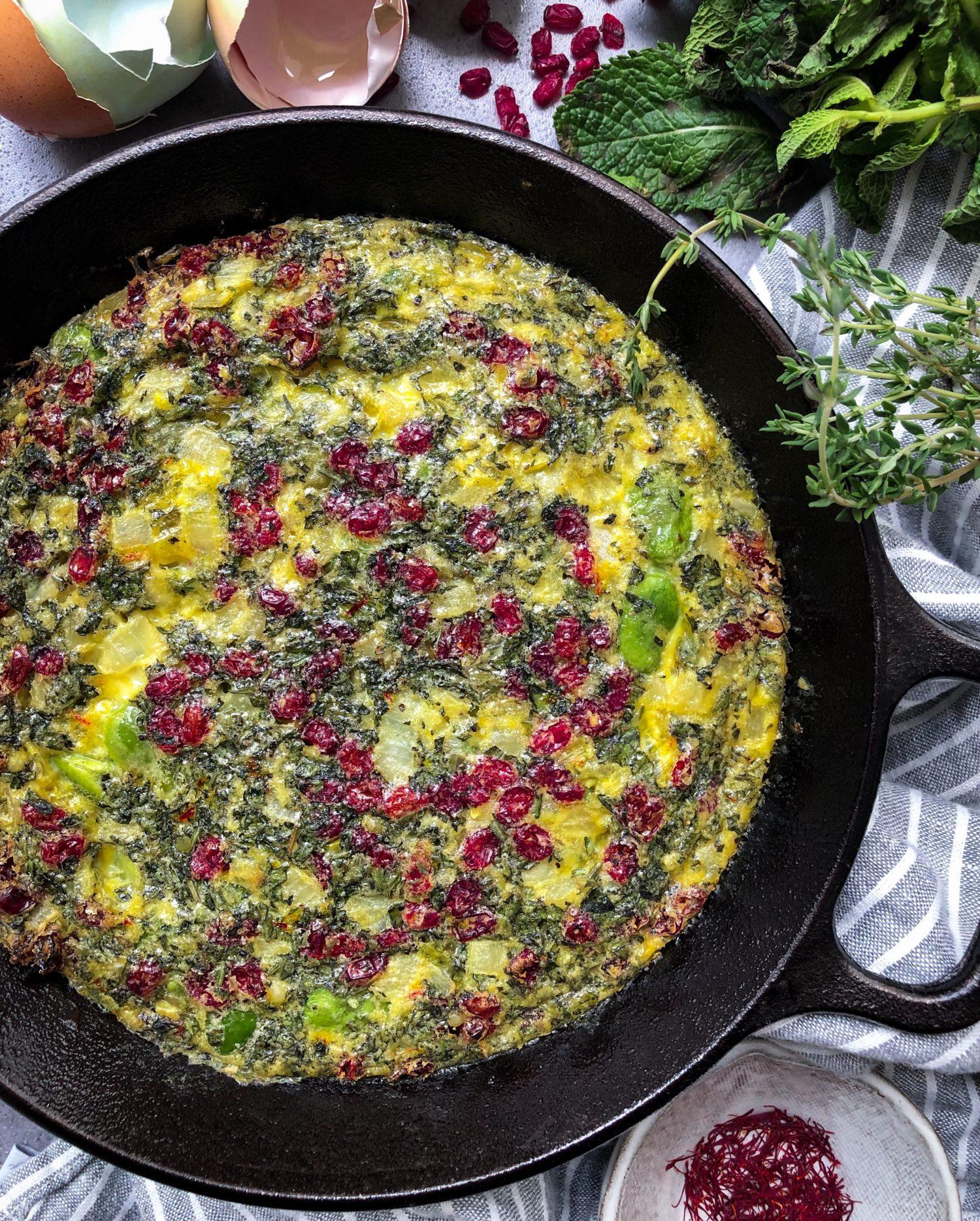Fava Bean Kuku, Persian frittata