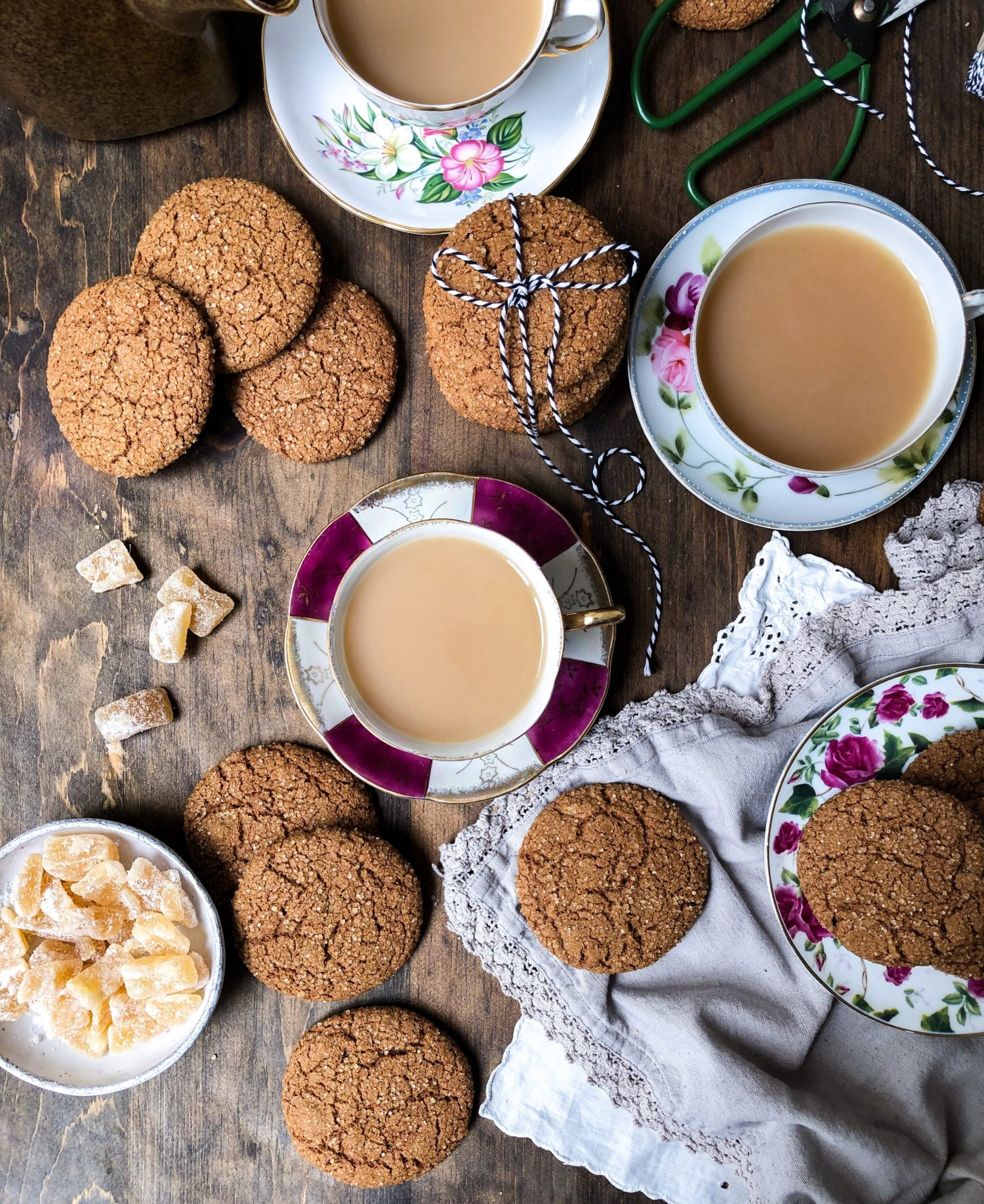 Spicy Ginger Molasses Cookies, candied ginger