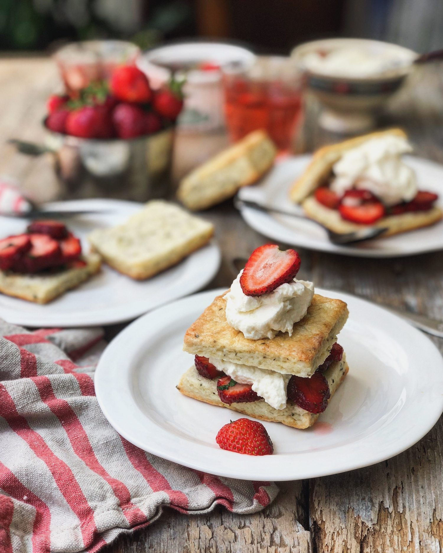 Strawberry Shortcake, Thyme and Ricotta Biscuits