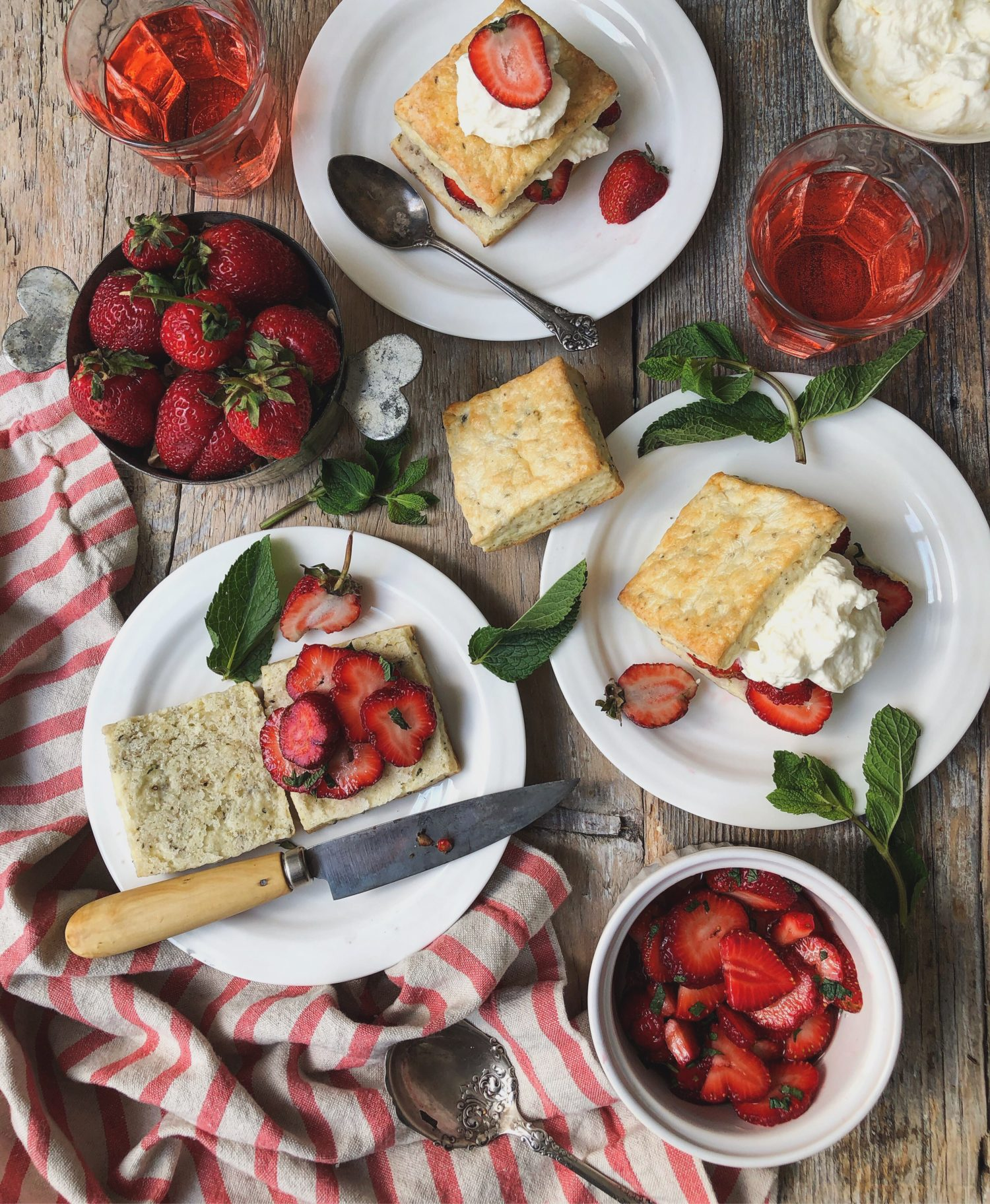 Strawberry Shortcake, Thyme and Pepper Ricotta Biscuits