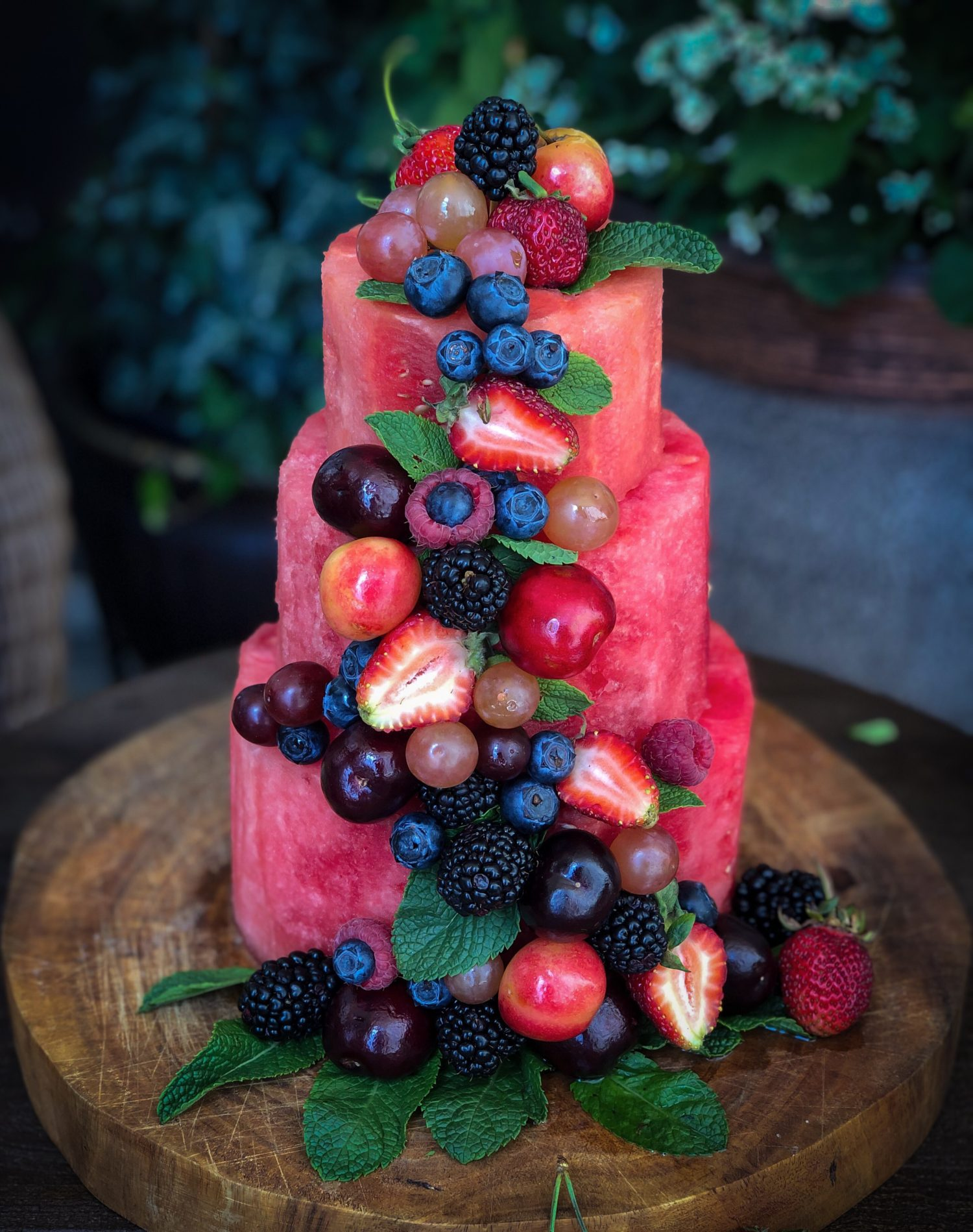Watermelon Cake, berries and stone fruit