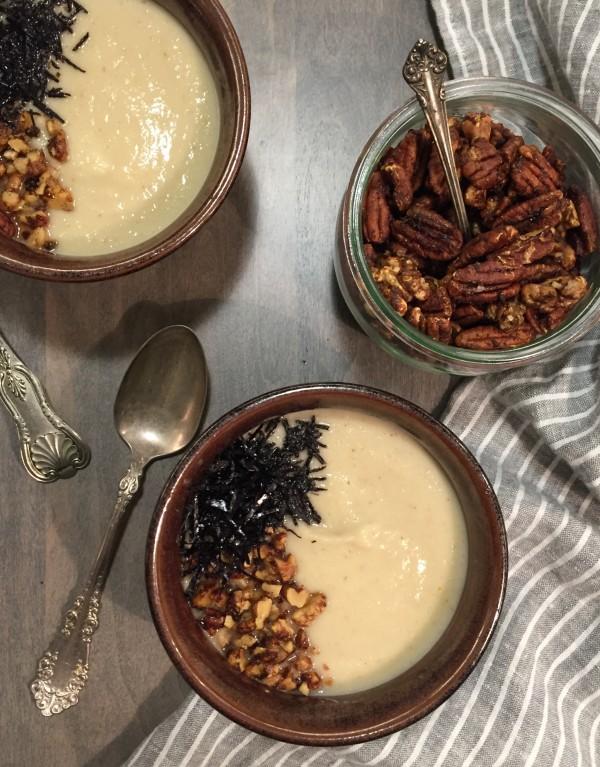 Za'atar roasted cauliflower and kohlrabi soup