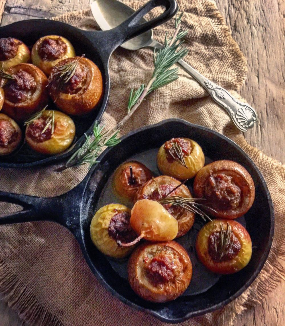 sausage stuffed heirloom apples