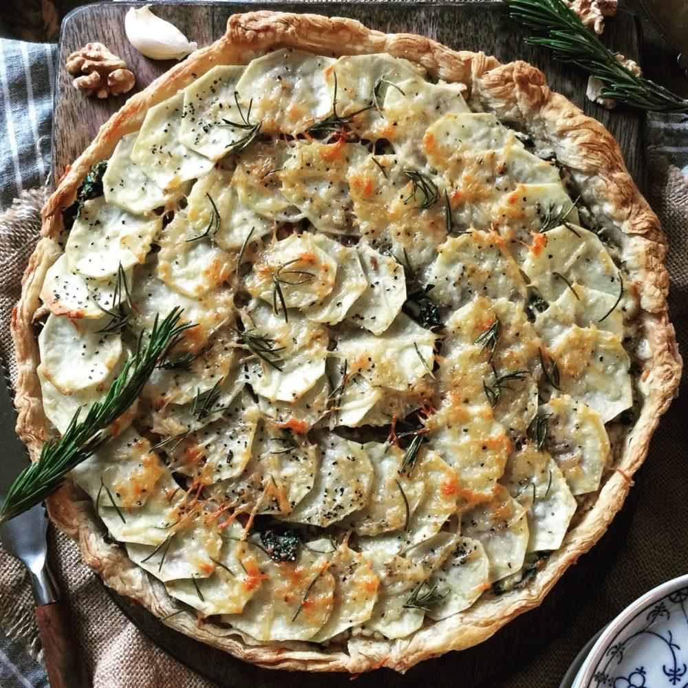 potato kale tart
