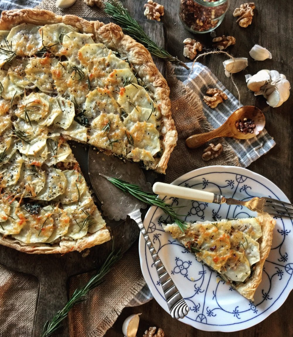 potato kale and gorgonzola tart
