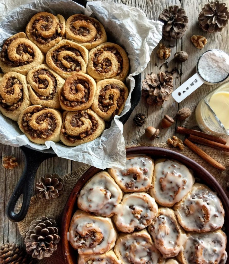 Eggnog Cinnamon Rolls with Walnuts and Coffee