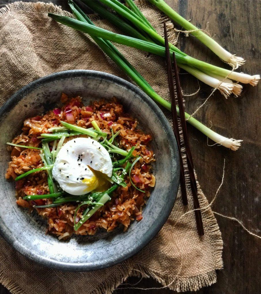 Kimchi Fried Rice with Scallion Salad