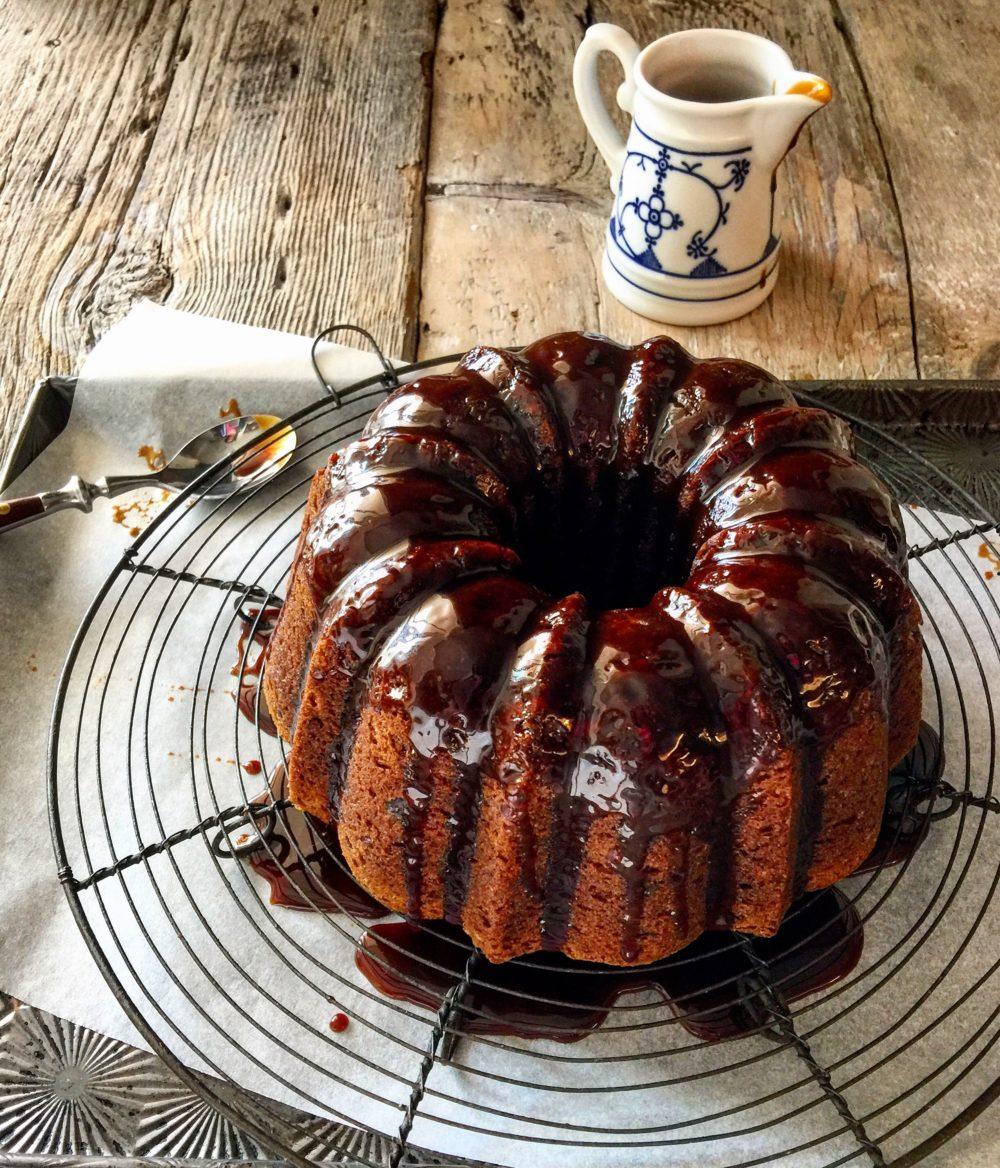 Cardamom Banana Cake with Bourbon Caramel Glaze