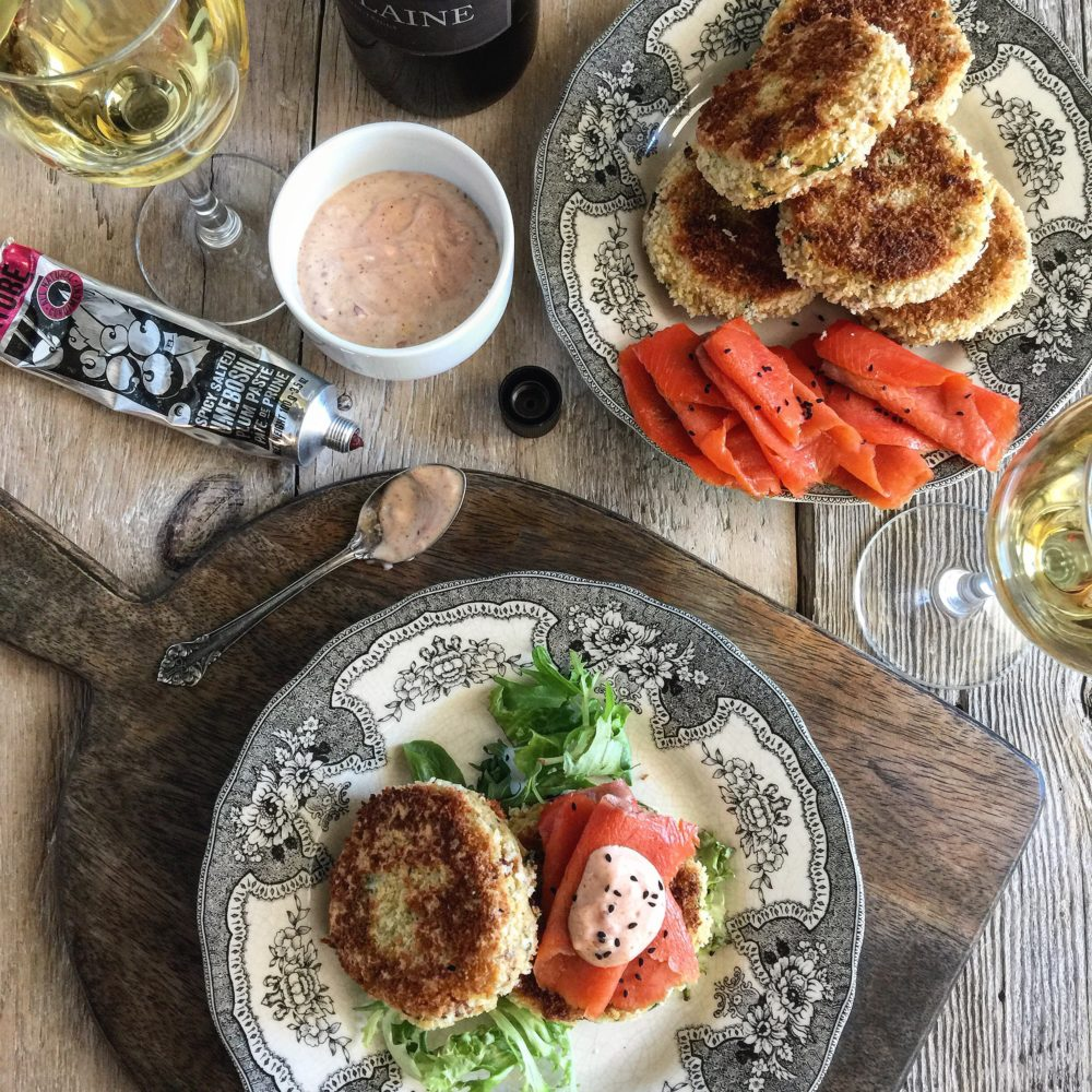 Potato Kale and Bacon Cakes with Ume Shallot Aioli