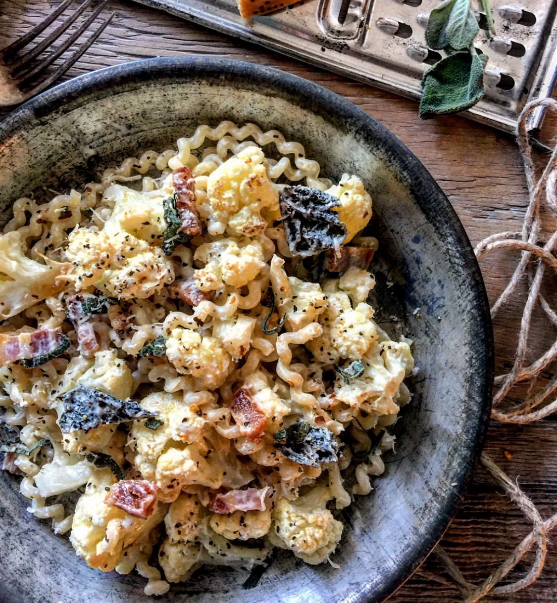 cauliflower pancetta and sage pasta