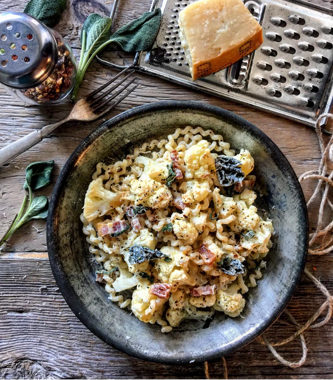 cauliflower pancetta and sage pasta