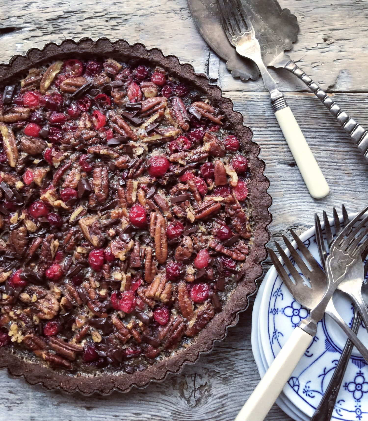 chocolate cranberry pecan tart